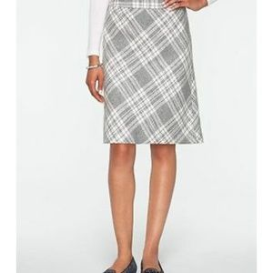 Talbots Gray Wool Plaid Skirt